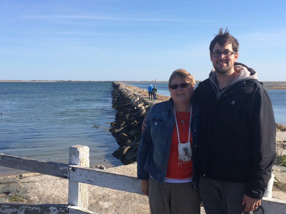 My son and I in a town called Provence town on the cape...the rock jetty behind us can take you to the other side of the ocean, that is if you dare.....locals say it gets real narrow in spots and there is the potential you could fall in.....yikes!