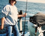 Me on a party boat at Westport WA about 17 years ago...I was the only female on the boat.